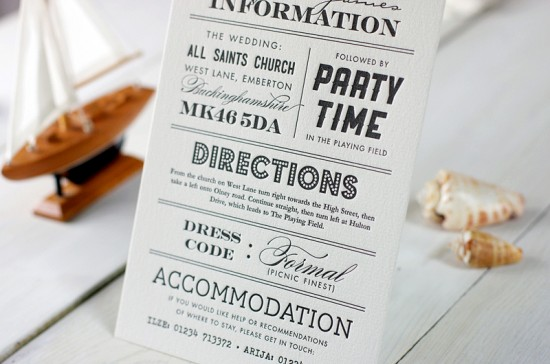 Modern Chevron Stripe Letterpress Wedding Invitation Meticulous Ink5 550x364 James + Arijas Modern Seaside Wedding Invitations