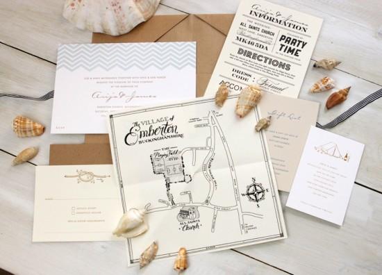 Modern Chevron Stripe Letterpress Wedding Invitation Meticulous Ink8 550x396 James + Arijas Modern Seaside Wedding Invitations