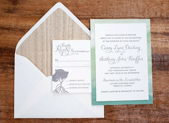 Modern Watercolor Letterpress Wedding Invitations Make Merry8 550x401 Anthony + Caseys Nature Inspired Watercolor Wedding Invitations