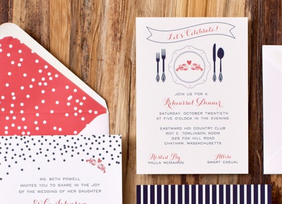 Nautical Letterpress Wedding Invitations Suite Paperie3 550x398 Erika + Andrews Modern Nautical Wedding Invitations