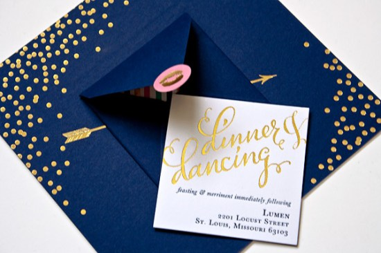 Navy Gold Foil Calligraphy Wedding Invitations Plurabelle Calligraphy Kate Allen2 550x366 Best of 2012: Metallic Wedding Invitations