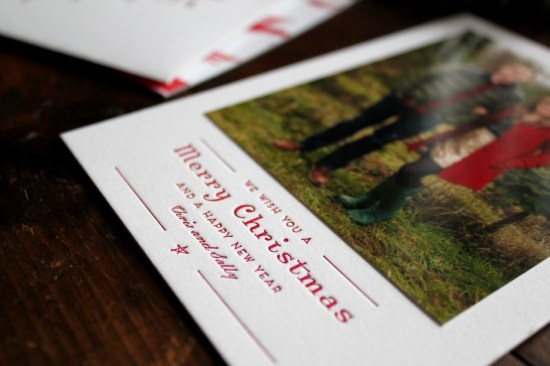 Red Ikat Letterpress Custom Holiday Photo Card La Happy 550x366 Chris + Sallys Ikat Letterpress Holiday Cards