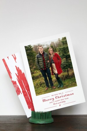 Red Ikat Letterpress Custom Holiday Photo Card La Happy5 300x450 Chris + Sallys Ikat Letterpress Holiday Cards