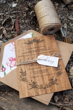 Rustic Letterpress Wood Wedding Invitations Birds of a Feather4 300x450 Dana + Matts Rustic Floral Wood Veneer Wedding Invitaions