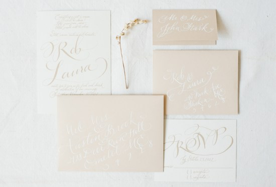 Simple Calligraphed Wedding Invitations Hazel Wonderland 550x374 Calligraphy Wedding Invitation Collection from Hazel Wonderland