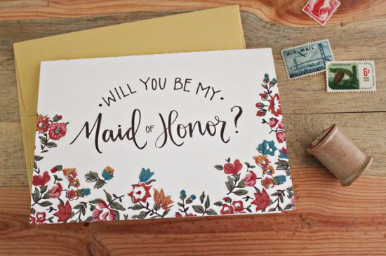 Will You Be My Floral Calligraphy Card 550x365 Stationery A – Z: Bridesmaid and Maid of Honor Cards
