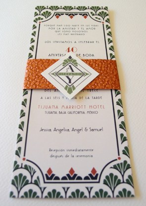 Art Deco Anniversary Invitation Lizzy B Loves 300x425 Art Deco Inspired 40th Anniversary Invitations