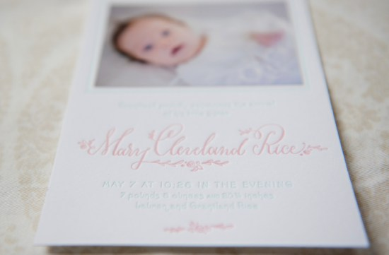 Birth Announcement Holly Hollon Four Hats Press Stacy Richardson Photography 550x361 Marys Sweet + Feminine Letterpress Baby Announcements