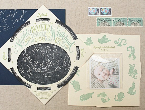 Constellation Starfinder Birth Announcements Ladyfingers Letterpress Oh So Beautiful Paper23 550x418 Sophies Constellation Starfinder Birth Announcements