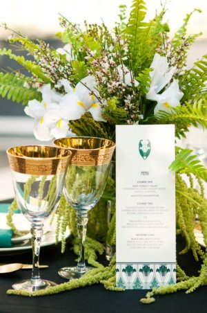 Emerald Art Deco Wedding Menu Marit Hanson Weddings Locally Grown Weddings 300x452 Wedding Stationery Inspiration: Emerald