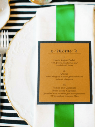 Emerald Gold Black Wedding Menu Meant to Be Calligraphy Katie Stoops Photography 300x400 Wedding Stationery Inspiration: Emerald