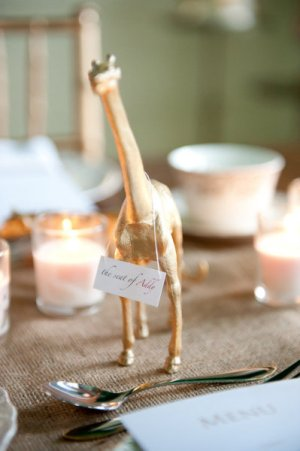 Gold Animal Place Card Holders Chloe Obrien Photography 300x451 Wedding Stationery Inspiration: Animal Motifs