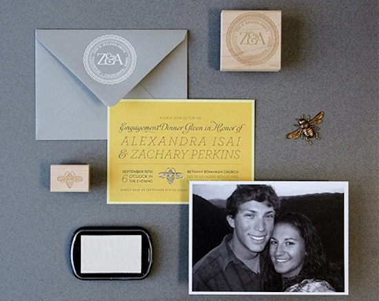 Gray Yellow Engagement Party Invitations Lush Events1 Zachary + Alexandras Engagement Dinner Party Invitations