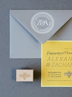Gray Yellow Engagement Party Invitations Lush Events4b 300x401 Zachary + Alexandras Engagement Dinner Party Invitations