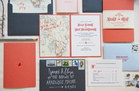 Map Travel Inspired Wedding Invitations Gus and Ruby Letterpress2 550x360 Sally + Grays Maine Map Destination Wedding Invitations