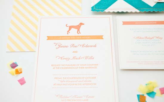 Orange Teal Chevron Stripe Fabric Pocket Wedding Invitation2 550x343 Janine + Craigs Chevron Stripe Fabric Pocket Wedding Invitations