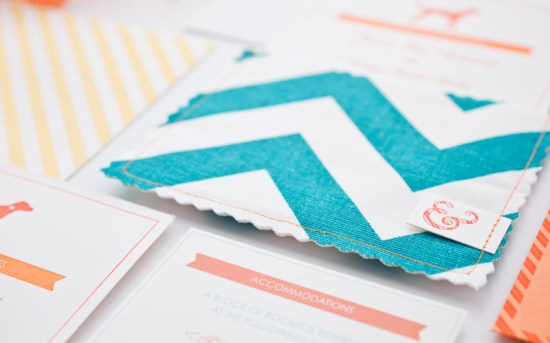 Orange Teal Chevron Stripe Fabric Pocket Wedding Invitation6 550x343 Janine + Craigs Chevron Stripe Fabric Pocket Wedding Invitations