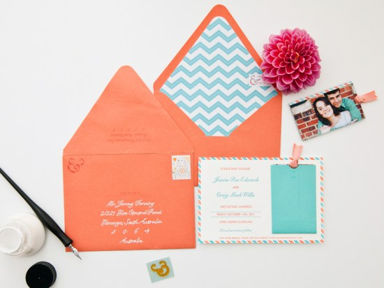 Orange Teal Chevron Stripe Fabric Pocket Wedding Invitation9 550x412 Janine + Craigs Chevron Stripe Fabric Pocket Wedding Invitations