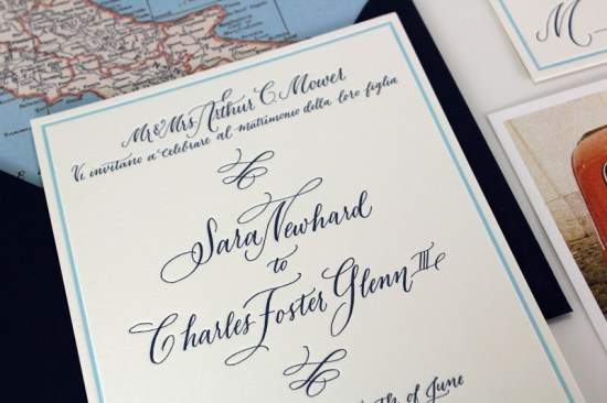 Travel Inspired Wedding Invitations Ruby the Fox7 550x366 Charles + Saras Travel Inspired Calligraphy Wedding Invitations