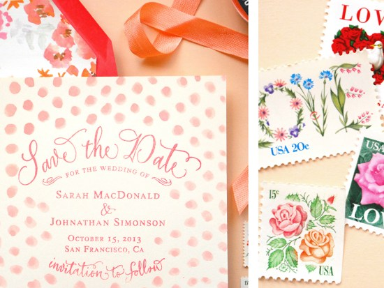 pink dot2 550x413 DIY Tutorial: Pink Polka Dot Watercolor Save the Date