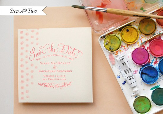 pink dot4 550x386 DIY Tutorial: Pink Polka Dot Watercolor Save the Date