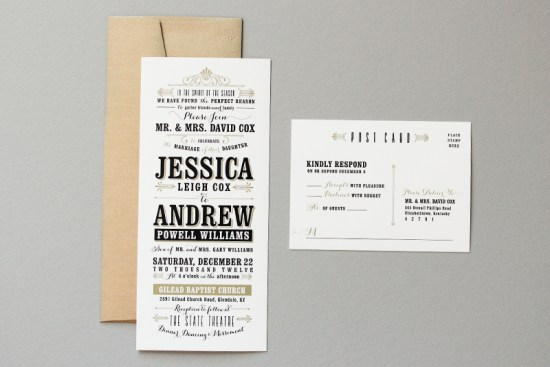 Black and Gold Typographic Wedding Invitations Megan Wright Design Co 550x367 Jessica + Andrews Vintage Inspired Typography Wedding Invitations