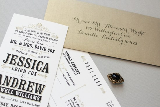 Black and Gold Typographic Wedding Invitations Megan Wright Design Co5 550x367 Jessica + Andrews Vintage Inspired Typography Wedding Invitations