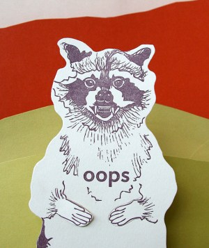 Blackbird Letterpress Raccoon Card 300x357 Stationery A – Z: Apology Cards
