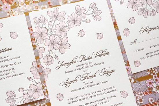Chauhie Cherry Blossom Letterpress Wedding Invitations 550x366 Seasonal Stationery: Cherry Blossoms
