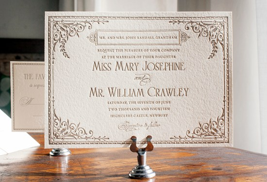 Downton Abbey Inspired Wedding Invitation Lucky Luxe Couture Correspondence3 550x375 Downton Abbey Inspired Wedding Invitations