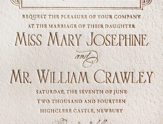 Downton Abbey Inspired Wedding Invitation Lucky Luxe Couture Correspondence6 550x418 Downton Abbey Inspired Wedding Invitations