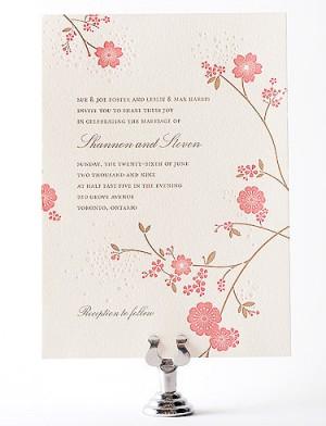 Hello Lucky Cherry Blossom Wedding Invitation 300x392 Seasonal Stationery: Cherry Blossoms