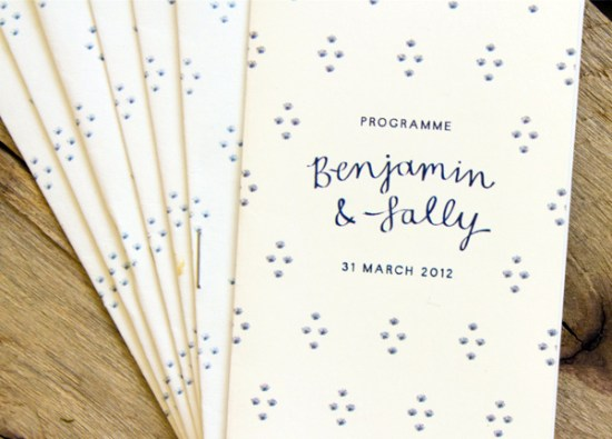 Illustrated South Africa Wedding Invitations Bells Whistles Ceremony Program 550x395 Sally + Bens Sweet and Simple Illustrated Wedding Invitations