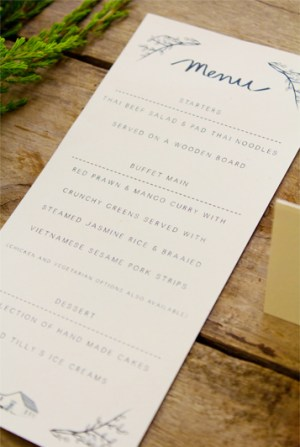 Illustrated South Africa Wedding Invitations Bells Whistles Menu 300x447 Sally + Bens Sweet and Simple Illustrated Wedding Invitations