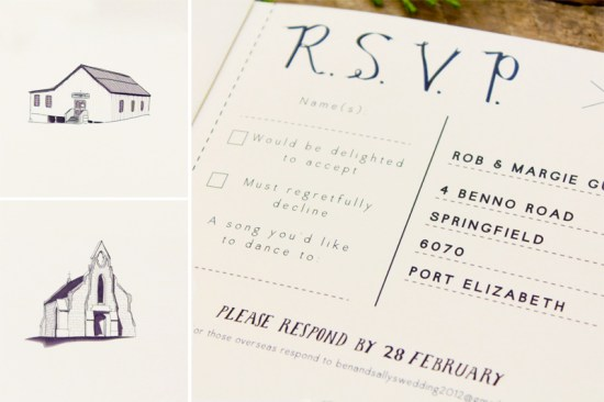Illustrated South Africa Wedding Invitations Bells Whistles RSVP 550x366 Sally + Bens Sweet and Simple Illustrated Wedding Invitations