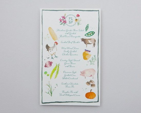 Illustrated Wedding Menu Cheree Berry Paper 550x440 Wedding Stationery Inspiration: Colorfully Illustrated Menus
