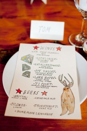 Illustrated Wedding Menu Sutherland Kovach Studio 300x450 Wedding Stationery Inspiration: Colorfully Illustrated Menus
