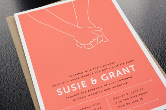 Modern Hand Hold Wedding invitations Up Up Creative3 550x366 Susie + Grants Modern Hand Hold Wedding Invitations