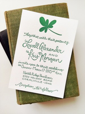 St Patricks Day Irish Wedding Invitations Grey Snail Press2 300x400 Kris + Lowells St. Patricks Day Wedding Invitations