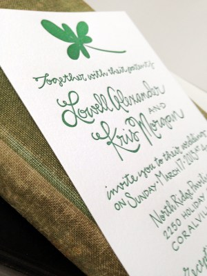 St Patricks Day Irish Wedding Invitations Grey Snail Press3 300x400 Kris + Lowells St. Patricks Day Wedding Invitations