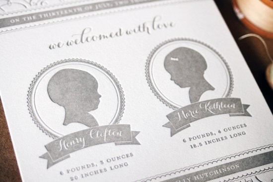 Twins Birth Announcement Curious Co4 550x366 Henry + Maries Silhouette Twin Birth Announcements