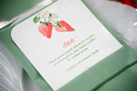 Watercolor Illustrated Wedding Menu Griffin vites Brea McDonald Photography 550x365 Wedding Stationery Inspiration: Colorfully Illustrated Menus