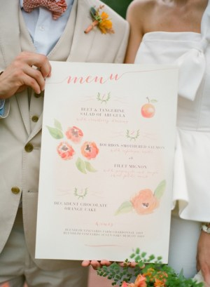 Watercolor Illustrated Wedding Menu Rock Paper Scissors Elisa B Photography 300x409 Wedding Stationery Inspiration: Colorfully Illustrated Menus