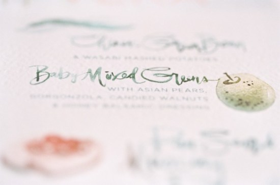 Watercolor Wedding Menu Julie Song Ink Jose Villa 550x363 Wedding Stationery Inspiration: Colorfully Illustrated Menus