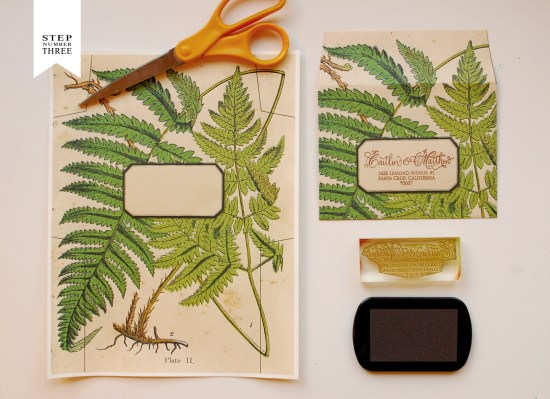 fern 4 550x399 DIY Tutorial: Vintage Fern Wedding Invitations