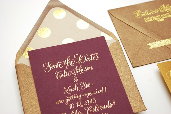 gold dot details 550x367 DIY Tutorial: Fig & Gold Calligraphy Save the Date