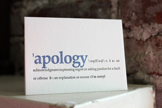 im sorry. letterpress definition card 550x366 Stationery A – Z: Apology Cards