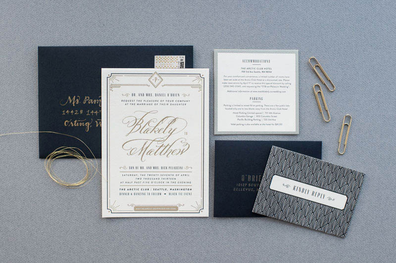 Art Deco Gold Foil Wedding Invitations By Carina Skrobecki Design Via Oh So Beautiful Paper