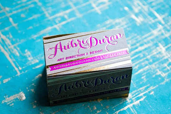 Gold Foil Hot Pink Business Cards Aubri Duran2 550x365 Aubris Pink + Gold Foil Business Cards