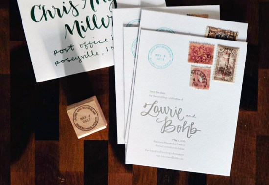 Letterpress Rubber Stamp Wedding Invitations Allie Peach9 550x379 Laurie + Bohbs Travel Inspired Vintage Stamp Save the Dates